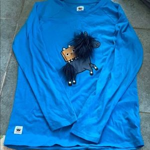 Blue Toca Boca shirt with 3-D fuzzy characters